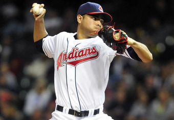 CLEVELAND, OH - SEPTEMBER 22: Starting pitcher Jeanmar Gomez #58 of the Cleveland Indians pitches during the third inning against the Chicago White Sox at Progressive Field on September 22, 2011 in Cleveland, Ohio. (Photo by Jason Miller/Getty Images)
