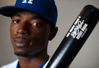GLENDALE, AZ - MARCH 2: Dee Gordon #9 of the Los Angeles Dodgers poses during photo day at the Glendale Sports Complex on March 2, 2012 in Glendale, Arizona. (Photo by Rob Tringali/Getty Images)