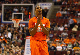 PHILADELPHIA, PA - JANUARY 11:  Kris Joseph #32 of the Syracuse Orange reacts against the Villanova Wildcats at the Wells Fargo Center on January 11, 2012 in Philadelphia, Pennsylvania.  (Photo by Chris Chambers/Getty Images)