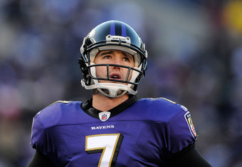 BALTIMORE, MD - JANUARY 15:  Billy Cundiff #7 of the Baltimore Ravens reacts during the third quarter of the AFC Divisional playoff game against the Houston Texans at M&T Bank Stadium on January 15, 2012 in Baltimore, Maryland.  (Photo by Patrick McDermot