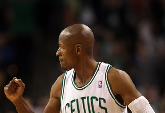 BOSTON, MA - MARCH 04:  Ray Allen #20 of the Boston Celtics celebrates a shot in the fourth quarter against the New York Knicks on March 4, 2012 at TD Garden in Boston, Massachusetts. The Boston Celtics defeated the New York Knicks 115-111 in overtime. NO