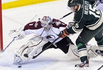 Avalanche goalie Semyon Varlamov robs Wild forward Dany Heatley on Sunday night