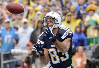 SAN DIEGO, CA - NOVEMBER 06:   Vincent Jackson #83 of the San Diego Chargers makes a catch for a touchdown and a 7-0 lead over the Green Bay Packers during the first quarter at Qualcomm Stadium on November 6, 2011 in San Diego, California.  (Photo by Harr