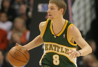 PHOENIX - FEBRUARY 08:  Luke Ridnour #8 of the Seattle SuperSonics dribbles against the Phoenix Suns on February 8, 2008 at US Airways Center in Phoenix, Arizona. NOTE TO USER: User expressly acknowledges and agrees that, by downloading and or using this