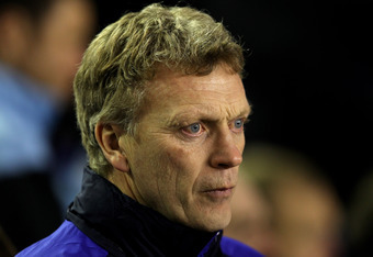 LIVERPOOL, ENGLAND - JANUARY 31:  Everton Manager David Moyes looks on prior to the Barclays Premier League match between Everton and Manchester City at Goodison Park on January 31, 2012 in Liverpool, England. (Photo by Alex Livesey/Getty Images)
