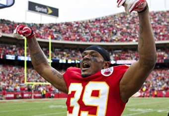 KANSAS CITY, MO - DECEMBER 18:   Brandon Carr #39 of the Kansas City Chiefs celebrates after a win against the Green Bay Packers at Arrowhead Stadium on December 18, 2011 in Kansas CIty, Missouri.  The Chiefs defeated the Packers 19-14.   (Photo by Wesley