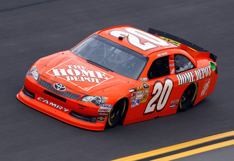 DAYTONA BEACH, FL - FEBRUARY 17:  Joey Logano, driver of the #20 The Home Depot Toyota, practices for the NASCAR Budweiser Shootout at Daytona International Speedway on February 17, 2012 in Daytona Beach, Florida.  (Photo by Chris Graythen/Getty Images)