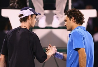 DUBAI, UNITED ARAB EMIRATES - MARCH 03:  Roger Federer of Switzerland and Andy Murray of Great Britain shake hands after Murray won the match in three sets during the ATP Barclays Dubai Tennis Championships at the Dubai Tennis Stadium on March 3, 2008 in