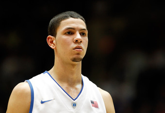 DURHAM, NC - FEBRUARY 16:  Austin Rivers #0 of the Duke Blue Devils during their game at Cameron Indoor Stadium on February 16, 2012 in Durham, North Carolina.  (Photo by Streeter Lecka/Getty Images)