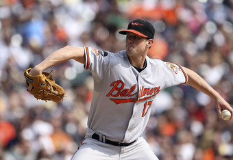 DETROIT - SEPTEMBER 25:  Brian Matusz #17 of the Baltimore Orioles pitches in the first inning during the game against the Detroit Tigers at Comerica Park on September 25, 2011 in Detroit, Michigan.  (Photo by Leon Halip/Getty Images)