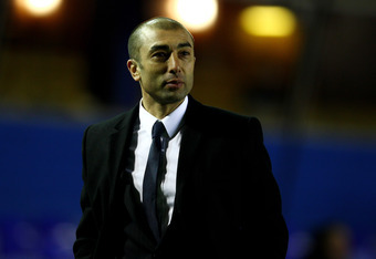 BIRMINGHAM, ENGLAND - MARCH 06:  Chelsea First Team Coach Roberto Di Matteo walks off at the end of the FA Cup Fifth Round Replay match between Birmingham City and Chelsea at St Andrews on March 6, 2012 in Birmingham, England.  (Photo by Clive Mason/Getty