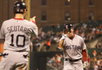BALTIMORE, MD - SEPTEMBER 27: Jacoby Ellsbury #2 of the Boston Red Sox (R) celebrates after driving in Marco Scutaro #10 on a home run against the Baltimore Orioles during the third inning at Oriole Park at Camden Yards on September 27, 2011 in Baltimore,