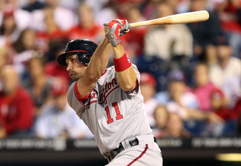 PHILADELPHIA - SEPTEMBER 21: Third baseman Ryan Zimmerman #11 of the Washington Nationals bats during a game against the Philadelphia Phillies at Citizens Bank Park on September 21, 2011 in Philadelphia, Pennsylvania. The Nationals won 7-5. (Photo by Hunt