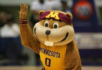ANAHEIM, CA - NOVEMBER 29:  The Minnesota Golden Gophers mascot Goldy entertains the fans during a break in the 76 Classic game between Texas A&M and Minnesota at Anaheim Convention Center on November 29, 2009 in Anaheim, California. Texas A&M defeated Mi