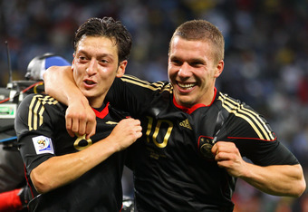 Podolski worked well with Mesut Ozil at the 2010 World Cup