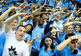 CHAPEL HILL, NC - FEBRUARY 11:  North Carolina Tar Heels fans cheer during a game against the Virginia Cavaliers during play at the Dean Smith Center on February 11, 2012 in Chapel Hill, North Carolina.  (Photo by Grant Halverson/Getty Images)