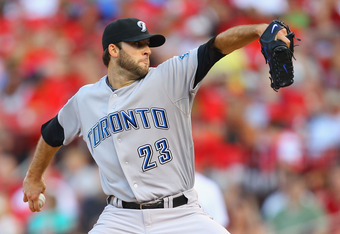 ST. LOUIS, MO - JUNE 24: Starter Brandon Morrow #23 of the Toronto Blue Jays pitches against the St. Louis Cardinals at Busch Stadium on June 24, 2011 in St. Louis, Missouri.  (Photo by Dilip Vishwanat/Getty Images)