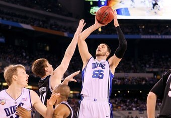 INDIANAPOLIS - APRIL 05:  Brian Zoubek #55 of the Duke Blue Devils attempts a shot against the Butler Bulldogs during the 2010 NCAA Division I Men's Basketball National Championship game at Lucas Oil Stadium on April 5, 2010 in Indianapolis, Indiana.  (Ph