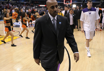LOS ANGELES, CA - MARCH 08:  Head coach Lorenzo Romar of the Washington Huskies reacts as he walks off the court after the Huskies lose to the Oregon State Beavers 86-84 during the quarterfinals of the 2012 Pacific Life Pac-12 basketball tournament at Sta
