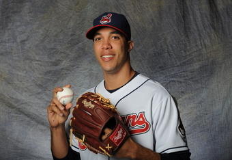 GOODYEAR, AZ - FEBRUARY 28:  Ubaldo Jimenez #30 of the Cleveland Indians poses for a portrait during a photo day at Goodyear Ballpark on February 28, 2012 in Goodyear, Arizona. (Photo by Rich Pilling/Getty Images)