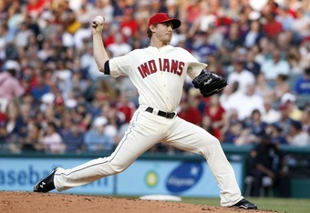 CLEVELAND, OH - AUGUST 13:   Josh Tomlin #43 of the Cleveland Indians pitches against the Minnesota Twins during the third inning of their game on August 13, 2011 at Progressive Field in Cleveland, Ohio.  The Cleveland Indians defeated the Minnesota Twins