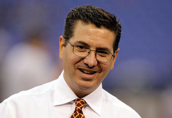 BALTIMORE, MD - AUGUST 25:  Washington Redskins owner Dan Snyder walks the sidelines prior to the start of a preseason game against the Baltimore Ravens at M&T Bank Stadium on August 25, 2011 in Baltimore, Maryland.  (Photo by Rob Carr/Getty Images)