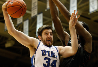 DURHAM, NC - FEBRUARY 16:  Ryan Kelly #34 of the Duke Blue Devils during their game at Cameron Indoor Stadium on February 16, 2012 in Durham, North Carolina.  (Photo by Streeter Lecka/Getty Images)