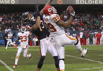 CHICAGO, IL - DECEMBER 04: Brandon Carr #39 of the Kansas City Chiefs intercepts a pass intended for Johnny Knox #13 of the Chicago Bears at Soldier Field on December 4, 2011 in Chicago, Illinois. The Chiefs defeated the Bears 10-3. (Photo by Jonathan Dan
