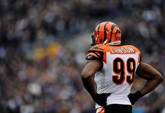 BALTIMORE, MD - NOVEMBER 20: Linebacker Manny Lawson #99 of the Cincinnati Bengals shows his frustration after the Baltimore Ravens score a touchdown in the third quarter at M&T Bank Stadium on November 20, 2011 in Baltimore, Maryland. The Ravens won, 31-