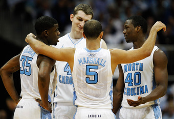 ATLANTA, GA - MARCH 09:  Reggie Bullock #35, Tyler Zeller #44, Kendall Marshall #5 and Harrison Barnes #40 of the North Carolina Tar Heels react during their game against the Maryland Terrapins during the Quarterfinals of the 2012 ACC Men's Basketball Con