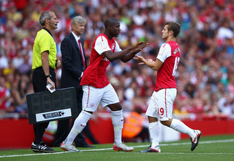 LONDON, ENGLAND - JULY 31:  Benik Afobe of Arsenal comes on for team mate Jack Wilshere who is substituted during the Emirates Cup match between Arsenal and New York Red Bulls at the Emirates Stadium on July 31, 2011 in London, England.  (Photo by Richard