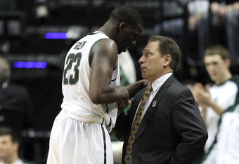 INDIANAPOLIS, IN - MARCH 10:  Draymond Green #23 of the Michigan State Spartans talks with head coach Tom Izzo as he comes out of the game in the final minutes of the second half during their Semifinal game of the 2012 Big Ten Men's Basketball Conference