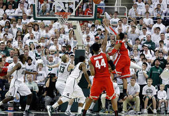 EAST LANSING, MI - MARCH 04: Jared Sullinger #0 of the Ohio State University scores during the first quarter of the game against the Michigan State Spartand at Breslin Center on March 4, 2012 in East Lansing, Michigan.  (Photo by Leon Halip/Getty Images)
