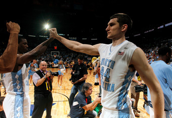 ATLANTA, GA - MARCH 11:  Tyler Zeller #44 of the North Carolina Tar Heels walks on the court during player introductions against the Florida State Seminoles during the Final Game of the 2012 ACC Men's Basketball Conference Tournament at Philips Arena on M