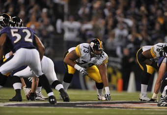 BALTIMORE - NOVEMBER 29:  Ramon Foster #73 of the Pittsburgh Steelers awaits the snap during the game against the  Baltimore Ravens at M&T Bank Stadium on November 29, 2009 in Baltimore, Maryland. The Ravens defeated the Steelers 20-17. (Photo by Larry Fr