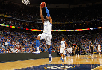 NEW ORLEANS, LA - MARCH 11:  Terrence Jones #3 of the Kentucky Wildcats goes up for a dunk in the first half against the Vanderbilt Commodores during the championship game of the 2012 SEC Men's Basketball Tournament at New Orleans Arena on March 11, 2012