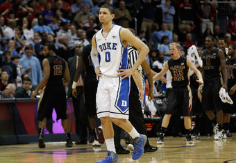 ATLANTA, GA - MARCH 10:  Austin Rivers #0 of the Duke Blue Devils reacts after their 62 to 59 loss to the Florida State Seminoles during the semifinals of the 2012 ACC Men's Basketball Conferene Tournament at Philips Arena on March 10, 2012 in Atlanta, Ge