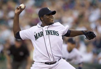 SEATTLE, WA - AUGUST 27:  Michael Pineda #36 of the Seattle Mariners delivers a pitch during a game against the Chicago White Sox at Safeco Field on August 27, 2011 in Seattle, Washington. (Photo by Stephen Brashear/Getty Images)