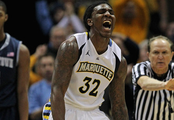 MILWAUKEE, WI - MARCH 03: Jae Crowder #32 of the Marquette Golden Eagles celebrtaes hitting a shot and being fouled against the Georgetown Hoyas at the Bradley Center on March 3, 2012 in Milwaukee, Wisconsin. Marquette defeated Georgetown 83-69.(Photo by