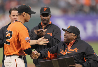 Vogelsong gets some love from Willie McCovey  in the midst of his stellar 2011.