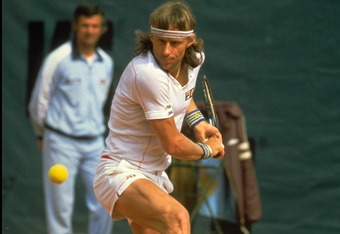 MAY 1982:  BJORN BORG OF SWEDEN HITS A BACKHAND DURING THE FRENCH OPEN AT THE STADE ROLAND GARROS IN PARIS.