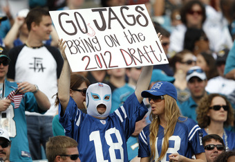 JACKSONVILLE, FL - JANUARY 1: Indianapolis Colts fans look on during the game against the Jacksonville Jaguars at EverBank Field on January 1, 2012 in Jacksonville, Florida. The Jaguars defeated the Colts 19-13 as Indianapolis secured the first pick in th