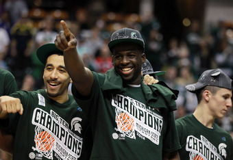 INDIANAPOLIS, IN - MARCH 11:  Brandon Wood #30 (L) and Draymond Green #23 of the Michigan State Spartans celebrate after they won 68-64 against the Ohio State Buckeyes during the Final Game of the 2012 Big Ten Men's Conference Basketball Tournament at Ban