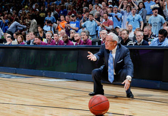 ATLANTA, GA - MARCH 11:  Head coach Roy Williams of the North Carolina Tar Heels reacts to a call in the game against the Florida State Seminoles during the Final Game of the 2012 ACC Men's Basketball Conference Tournament at Philips Arena on March 11, 20