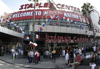 LOS ANGELES - MAY 14:  Fans gather outside Staples Center before the game between the Los Angeles Clippers and the Phoenix Suns in game four of the Western Conference Semifinals during the 2006 NBA Playoffs on May 14, 2006 in Los Angeles, California. NOTE