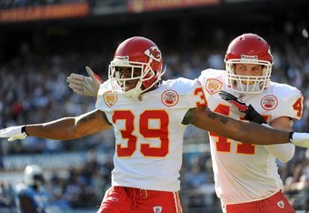 SAN DIEGO - NOVEMBER 29:  Brandon Carr #39 of the Kansas City Chiefs celebrates a third down stop with Jon McGraw #47 against San Diego Chargers at Qualcomm Stadium on November 29, 2009 in San Diego, California.  (Photo by Harry How/Getty Images)