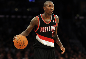 LOS ANGELES, CA - FEBRUARY 20:  Jamal Crawford #11 of the Portland Trail Blazers dribbles the ball against the Los Angeles Lakers at Staples Center on February 20, 2012 in Los Angeles, California.  NOTE TO USER: User expressly acknowledges and agrees that