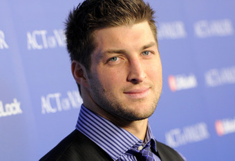 HOLLYWOOD, CA - FEBRUARY 13:  NFL Player Tim Tebow of the Denver Broncos arrives at the premiere of Relativity Media's 'Act Of Valor' held at ArcLight Cinemas on February 13, 2012 in Hollywood, California.  (Photo by Jason Merritt/Getty Images for Relativ