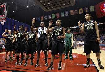 SAN ANTONIO - APRIL 04:  The Baylor Bears after a 70-50 loss against the Connecticut Huskies during the Women's Final Four Semifinals at the Alamodome on April 4, 2010 in San Antonio, Texas.  (Photo by Ronald Martinez/Getty Images)