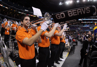 LOS ANGELES, CA - MARCH 09:  The Oregon State Beavers band performs before the Beavers take on the Arizona Wildcats in the semifinals of the 2012 Pacific Life Pac-12 men's basketball tournament at Staples Center on March 9, 2012 in Los Angeles, California